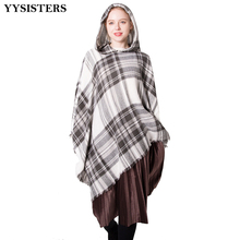 hot deal buy hiking scarf plaid hooded wrap poncho wool scarves women hat hooded shawl luxury autumn winter cashmere plaid cape cloak h030