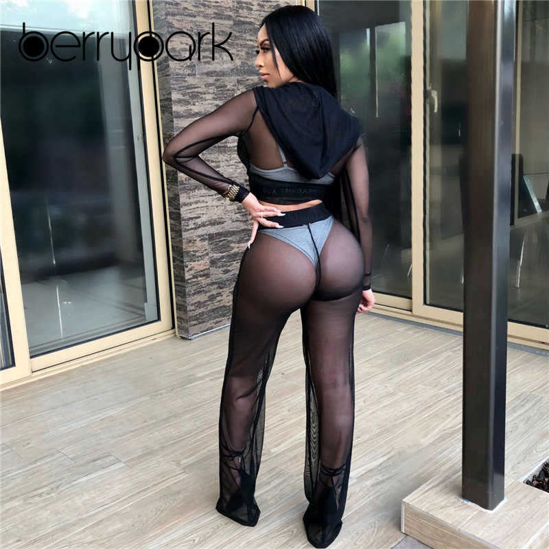 4b0878b319 ... BerryPark Mesh Bikini Cover Up Hoodie and Wide Leg Pants 2 PCS Set 2019  Summer See ...