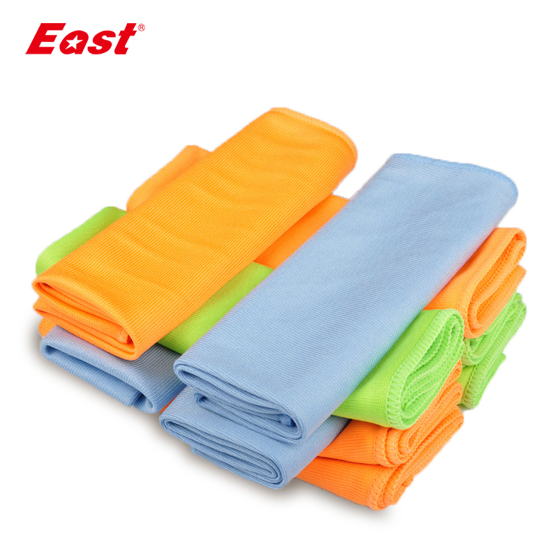East 5 Pcs 30x40CM Microfiber Glass Towel Window Windshield Cleaning Cloths Eyeglass Towels Fast Drying Durable Glass Taps