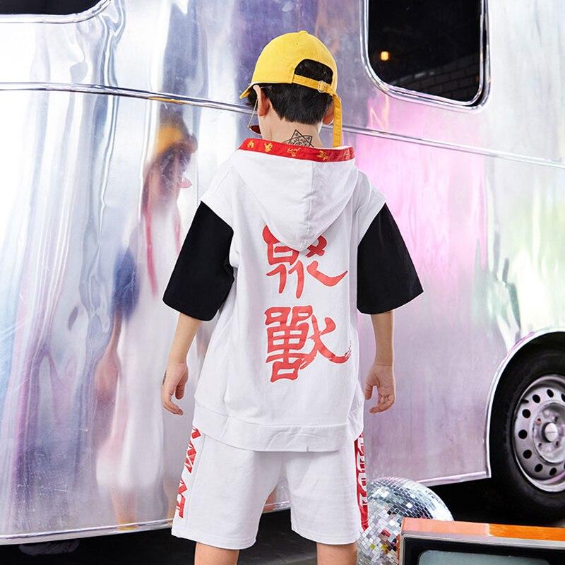 Hip Hop Dance Costume Short Sleeve Shorts Clothing Boys Jazz Dance Wear Street Dancing Show Outfit Children DQS1035
