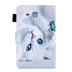 Image 3 - SM T280 מקרה עבור Samsung Galaxy Tab a6 7.0 2016 T280 T285 SM T285 כיסוי אופן בסיסי אופנה חתול הדפסת Tablet Stand מעטפת + מתנה