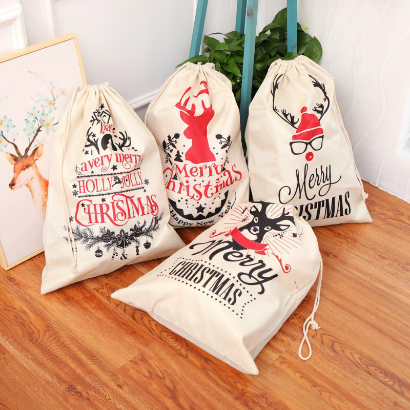 Drawstring Bag Cotton Linen Merry Christmas Gift Candy Holders Large Capacity Drawstring Bags