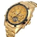 Forsining брендовые Бизнес Мужские часы золотые полностью из нержавеющей стали автоматические механические Toubilion наручные часы Relogio Masculino