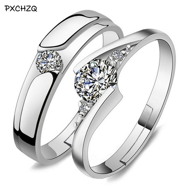 Romantic Love Couple Rings High Grade Boutique Fashion Open Crystal Ring  Male And Female Models