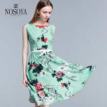 girls's summer season horny cotton bodycon sleeveless flower inexperienced costume 2017 knee size sashes zipper clothes feminine of huge sizes