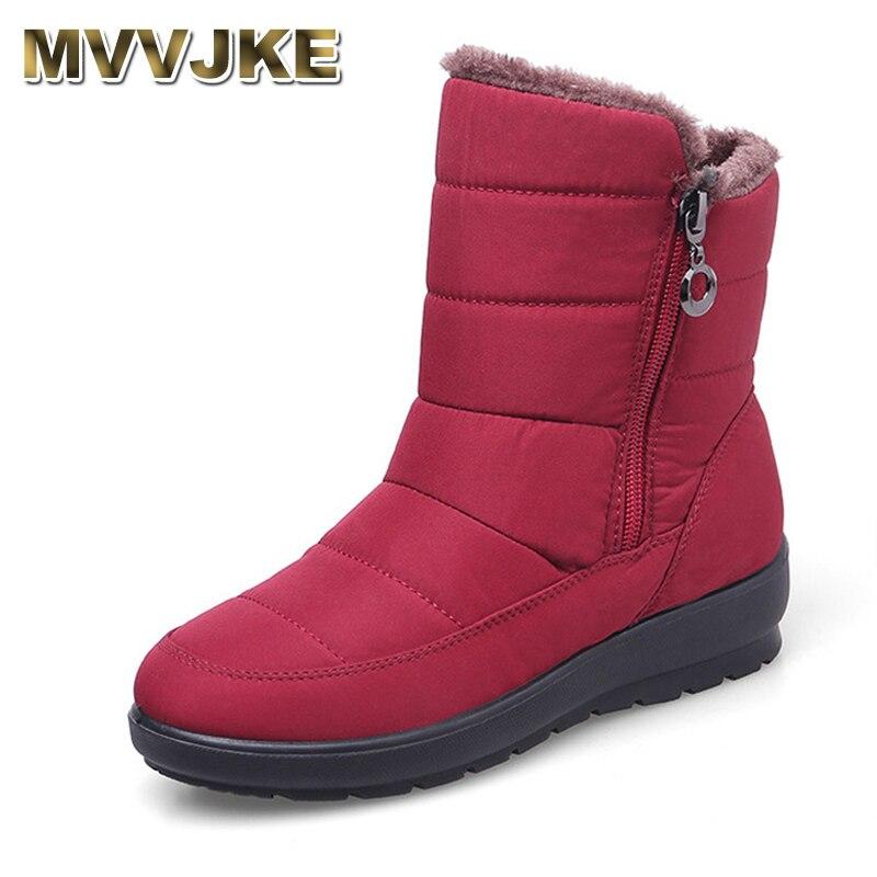 MVVJKE 2019The New Non-slip Waterproof Winter Boots Plus Cotton Velvet Women Shoes Warm Light Big Size 41 42 Snow BootsE1872