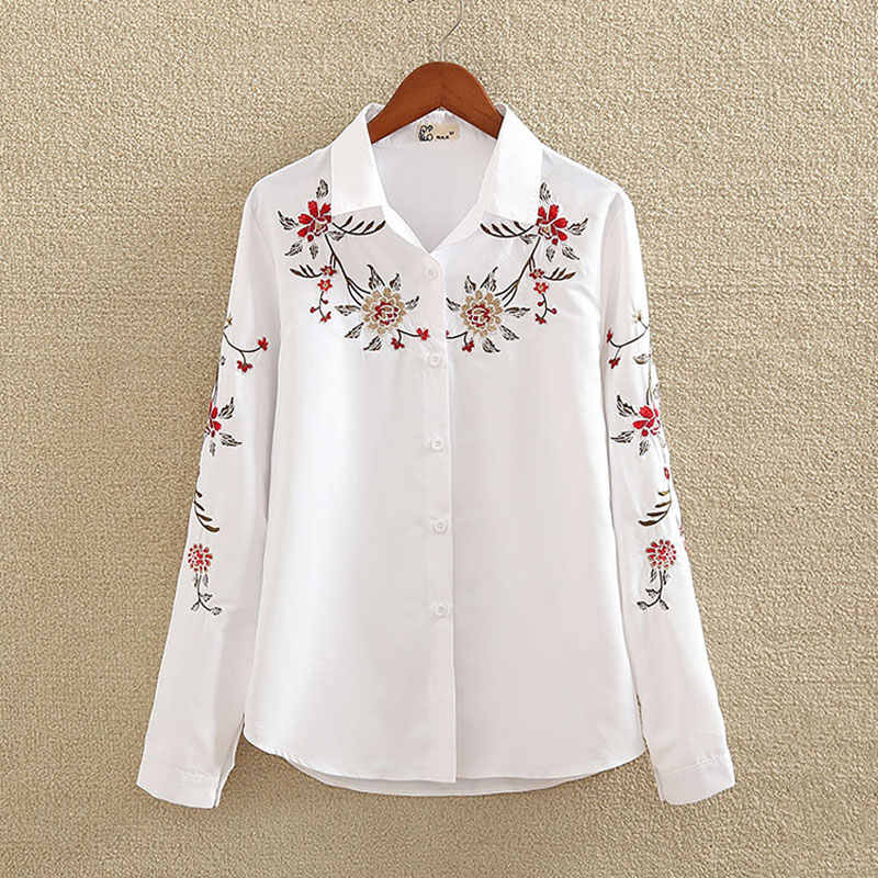 8807a976594d95 Embroidery White Cotton Shirt 2018 Autumn New Fashion Women Blouse Long  Sleeve Casual Tops Loose Shirt