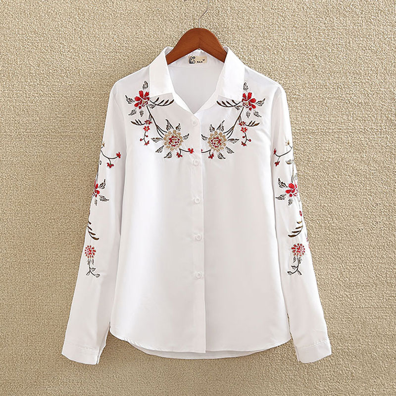 Blanco bordado Camisa de algodón de Otoño de 2018 nueva moda mujer manga larga blusa Casual Tops camisa femenina Blusas plus tamaño