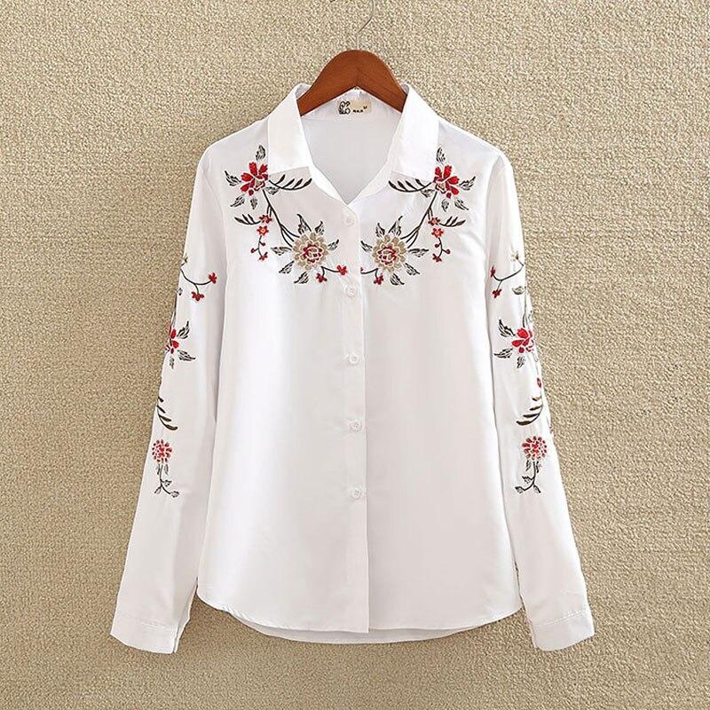 Bordado camisa de algodão branco 2019 outono nova moda feminina blusa manga longa casual tops solto camisa feminina plus size