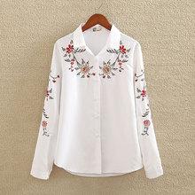Вышивка белая хлопковая рубашка осень 2018 г. Новые модные женские туфли блузка с длинным рукавом повседневное топы свободного кроя рубашка Blusas Feminina плюс размеры