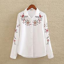 4800c23e284d6 Nakış Beyaz Pamuk Gömlek 2018 Sonbahar Yeni Moda Kadın Bluz Uzun Kollu  Rahat Üstleri Gevşek Gömlek