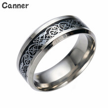 Canner Fashion Mens Stainless Steel Dragon Pattern Rings Retro Silver Color For Men Women Jewelry