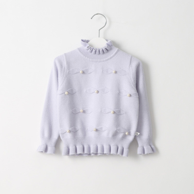 Female child bow turtleneck  cashmere  winter pearl sweater girl's basic cardigan