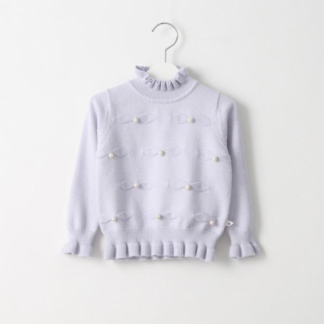 Niña arco perla de invierno de la muchacha de suéter de cachemira de cuello alto de la rebeca básica