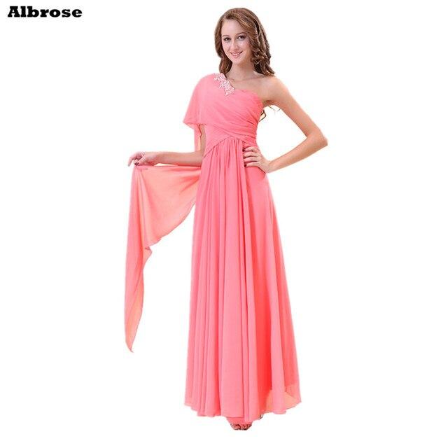 Sequined Beaded One Shoulder Evening Dress Hot Pink Chiffon Cheap ...