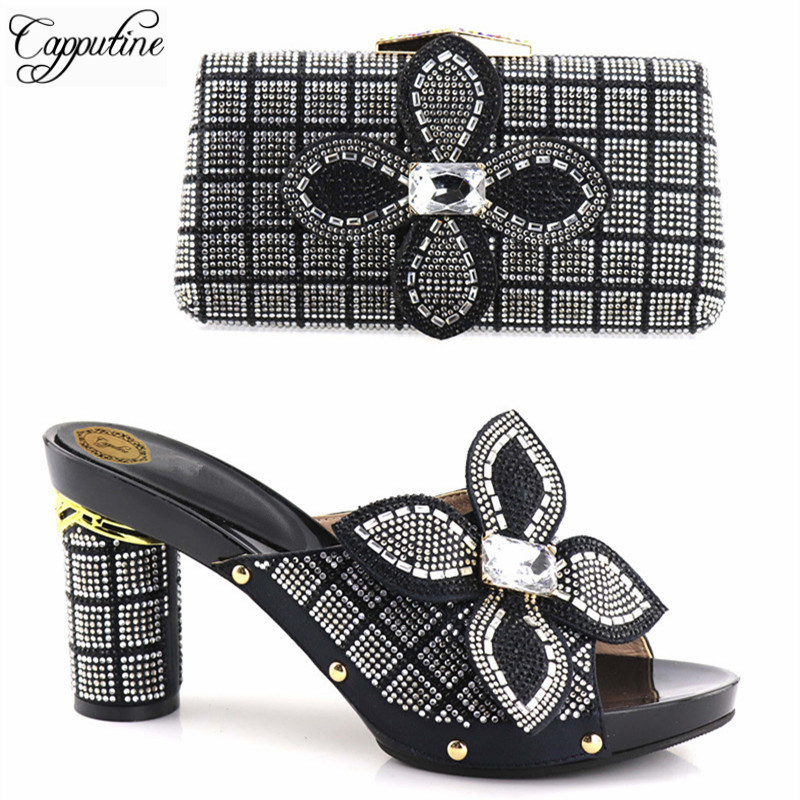 Capputine Fashion African Nigerian Wedding High Heels Woman Pumps Sandals Shoes Africa High Heels Shoes And Bag Set For Party capputine new summer sandals woman shoes 2017 fashion african casual sandals for ladies free shipping size 37 43 abs1115
