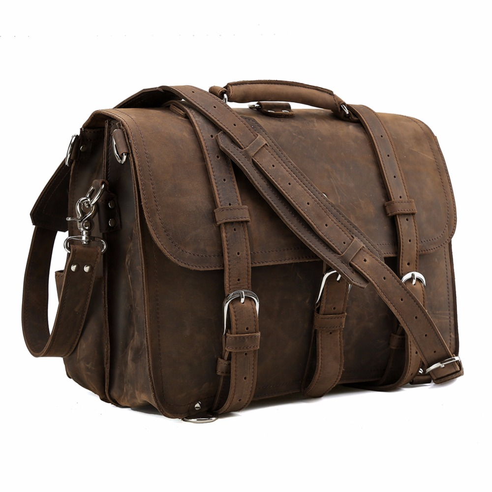 TIDING Men Vintage Genuine Leather 17 inch Laptop Shoulder Bag Multi functional Briefcase Large Travel Weekend Duffle Bag P12072