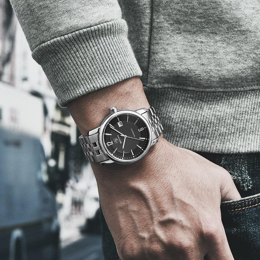 BENYAR Nuovo Meccanico Automatico Affari mens orologi top brand di lusso di Modo Militare Orologio In Acciaio Pieno erkek kol saati 2019