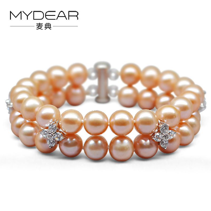 MYDEAR Pearl Jewelry Popular Natural White Pink Purple 7-8mm Freshwater Pearl Bracelet For Women,7.1inch,Double Layers Bracelet sweet rhinestone and faux pearl embellished floral double layered bracelet for women
