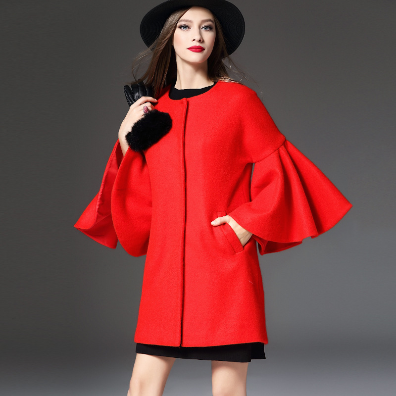 2016 New Women Red Wool Coat With Quilting Long Winter Woolen Jacket Red Fashion Casual Wool Peacoats Plus Size High Quality