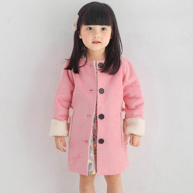362ce604a36e Fashion Girls Autumn Winter Warm Wool Blend Coat Pink Thicken Button  Closure Fleece Long Coat Jacket for 2 7 Years Girls-in Wool   Blends from  Mother ...
