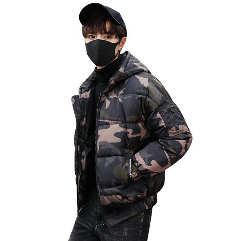 b 2018 Thick Winter Fashion Brand Jacket Men Quilted Streetwear   Parkas   Hooded Korean Slim Fit Bread service Coat Men Clothes