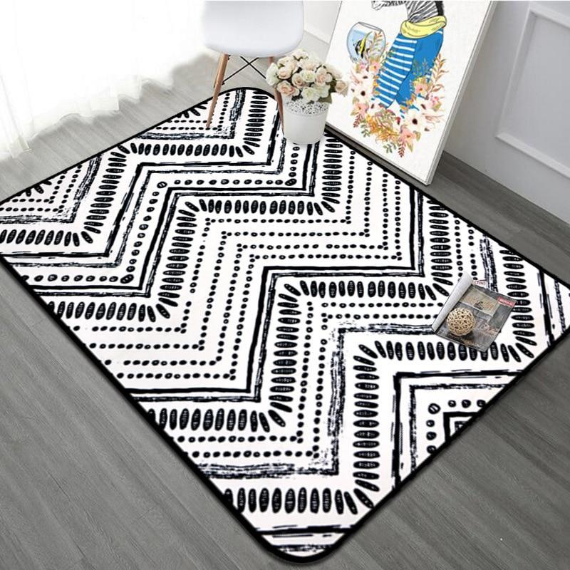 Avec cadeau 5 modèles moderne noir et blanc géométrie tapis doux pour la maison salon antidérapant salon enfants tapis chaise tapis de Table