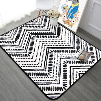 With Gift 5 Patterns Modern Black And White Geometry Soft Carpet For Home Living Room Nonslip Parlor Kids Rugs Chair Table Mat