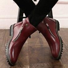 Из Микрофибры Швейные ботильоны Для мужчин ботинки челси острый носок мед твердого винтажные мотоботы, зимние Повседневное британский стиль обувь
