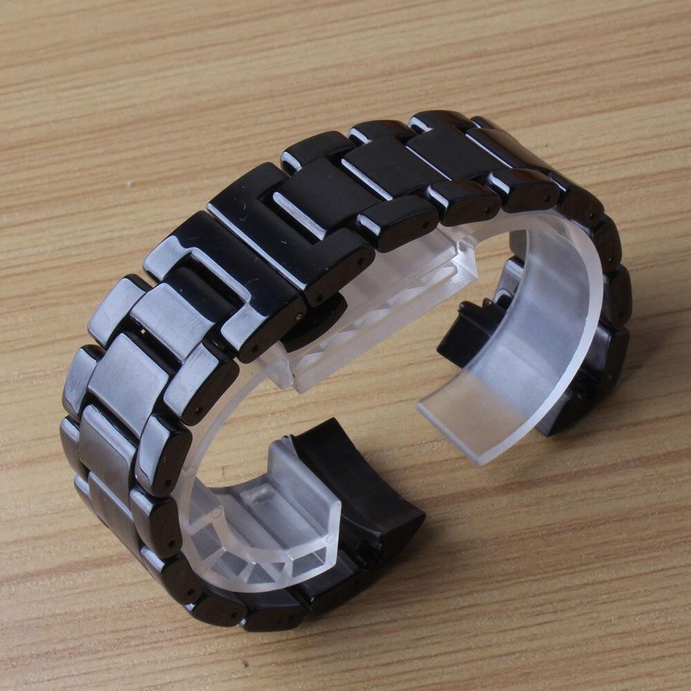 Bracelets de bracelet de bracelet d'extrémité incurvée de liens solides avec la boucle de papillon accessoires noirs de bracelet de la vitesse S3 Frontier en céramique