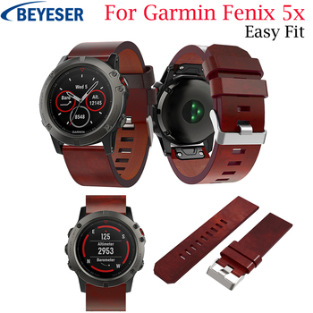 26mm Leather Watch Strap for Garmin Fenix 5X 3 Replacement Watch Band Quick Release Watchband for Garmin Fenix3 HR Fenix 5X Plus watchband for garmin fenix 3 fenix 3 hr fenix 5x 22mm 26mm replacement watch band belt quick replacement fit band bracelet strap