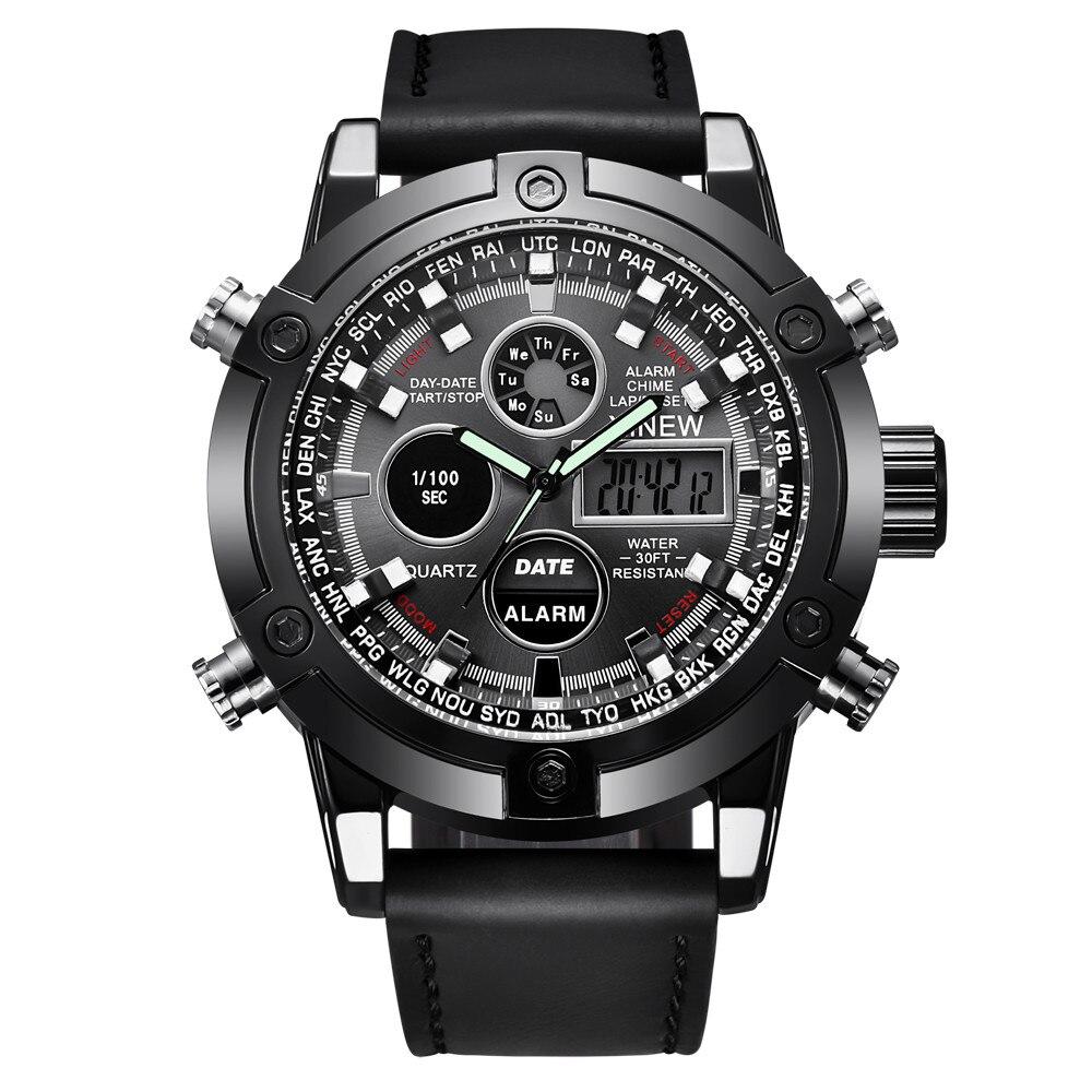 XINEW Brand Watch Men Luxury Dual Movt Men's Leather Quarz Analog Digital LED Sport Wrist Watch Reloj Hombre Orologio Uomo 2019