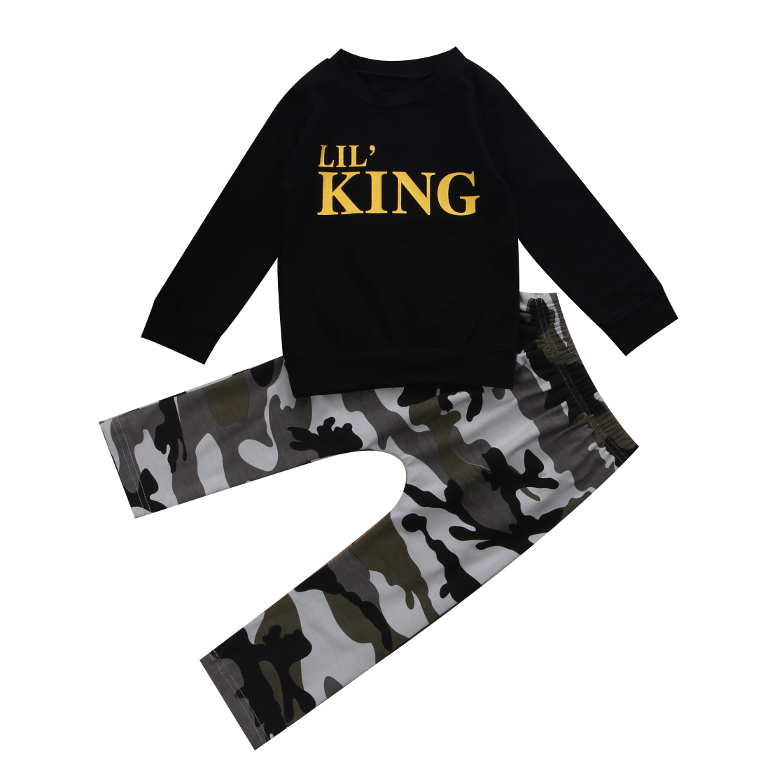 Children Baby boy clothes 2017 New Winter and Autumn Black long sleeve t-shirt + camouflage pants 2pcs suit kids clothes ...
