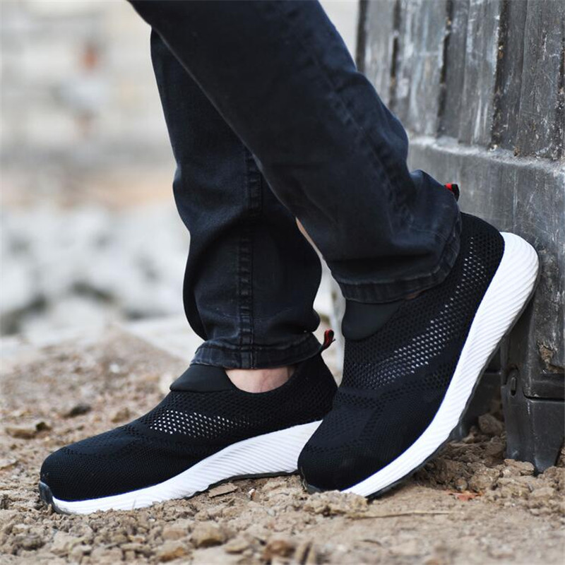Summer Breathable Loafers Work Safety Shoes Men Safety Sneakers Puncture Proof Work Shoes Women Men Safety Steel Toe Boots in Work Safety Boots from Shoes