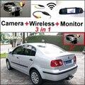 3 in1 Especial Cámara de Visión Trasera + Receptor Inalámbrico + Espejo monitor de sistema de estacionamiento de copia de seguridad fácil de bricolaje para volkswagen vw polo sedan