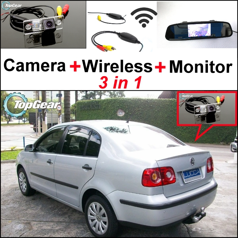 ФОТО 3 in1 Special Rear View Camera + Wireless Receiver + Mirror Monitor Easy DIY Backup Parking System For Volkswagen VW Polo Sedan