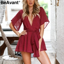 BeAvant Boho floral print beach romper women V neck backless sexy jumpsuit female Polka dot summer short playsuit macacao 2018