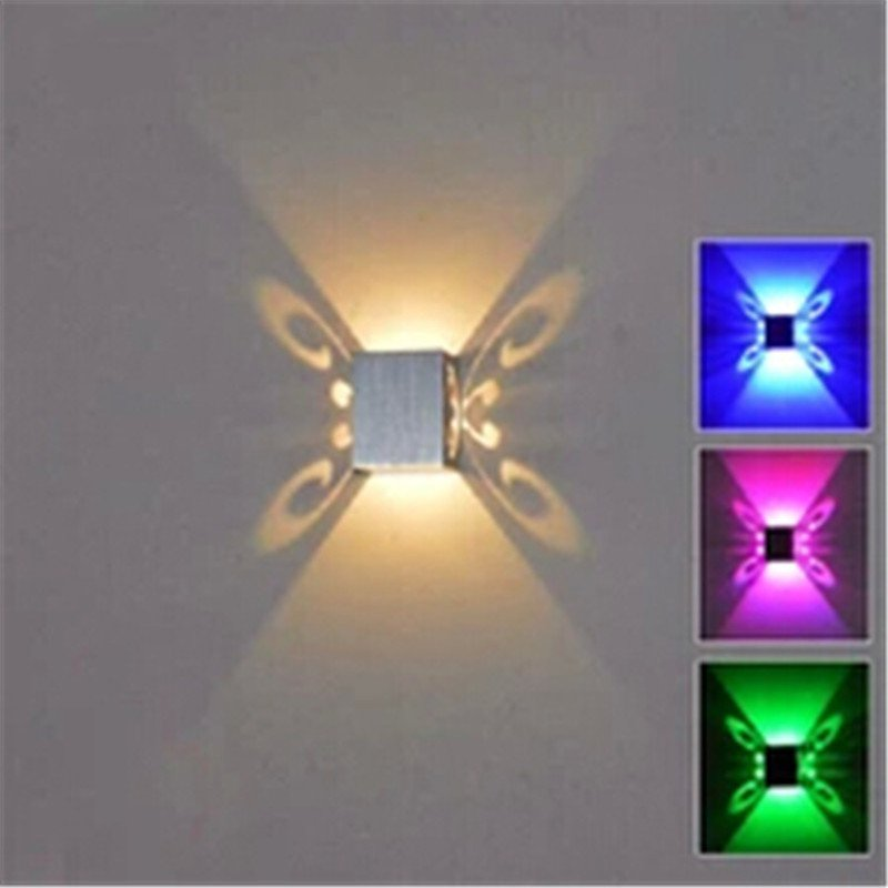 New Butterfly 3W LED Wall Sconce Mounted Light Fixture ...