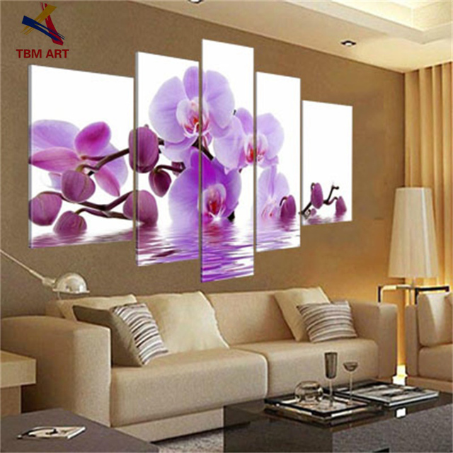 Real Hand Painted Modern Flower  Oil Paintings Wall Art ,The Orchid  Set Canvas Painting ,Group Oil Painting Love Art JYJHS003