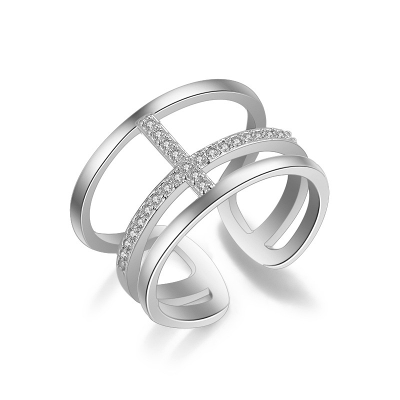 High quality fashion shiny crystal cross female 925 sterling silver ladies`finger rings jewelry ring gift wholesale