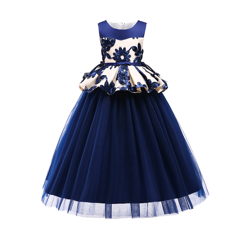 Lace Embroidery   Flower     Girl     Dresses   Floor Length   Girls   Pageant   Dresses   First Communion   Dresses   Tulle Wedding Party   Dress