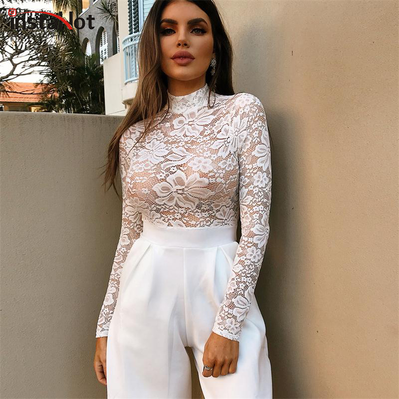 InstaHot Lace See Through Mock Neck Bodysuits Women White Sexy Long Sleeve  Flower Transparent Rompers Sexy 151e63cc3