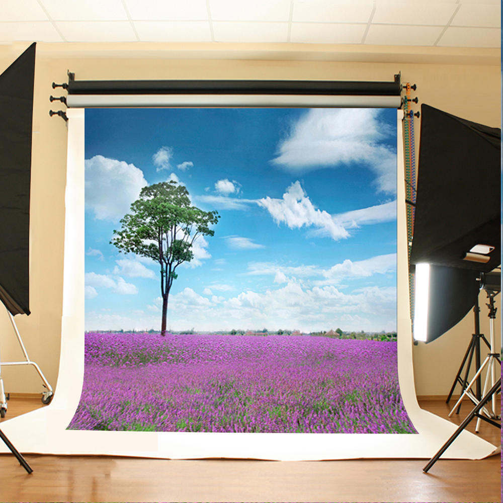 Wedding Photo Backdrops Lavender Garden Tree Art Background Photo Blue Sky and White Clouds Backdrops for Photographic Studio blue sky white clouds beach coconut tree backdrops fotografia fundo fotografico natal background photograph