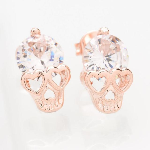 Gold Plated Classic Skull Stud Earring | Halloween Costume Jewelry