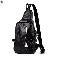 FUSHAN Famous Brand Leather Mens Chest Bags Fashion Travel Crossbody Bag Man Leather Chest Pack Soft Male Travel Bag