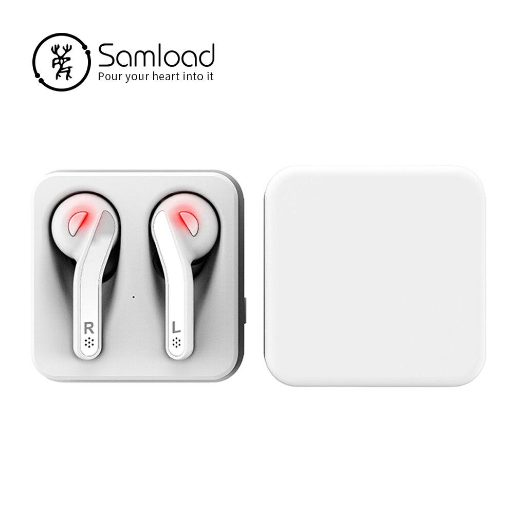Samload Doppio Ear Musica Stereo Auricolare Bluetooth 5.0 Cuffie Auricolari Senza Fili Con Casella di Ricarica Per Apple iPhone5 6 7 Android