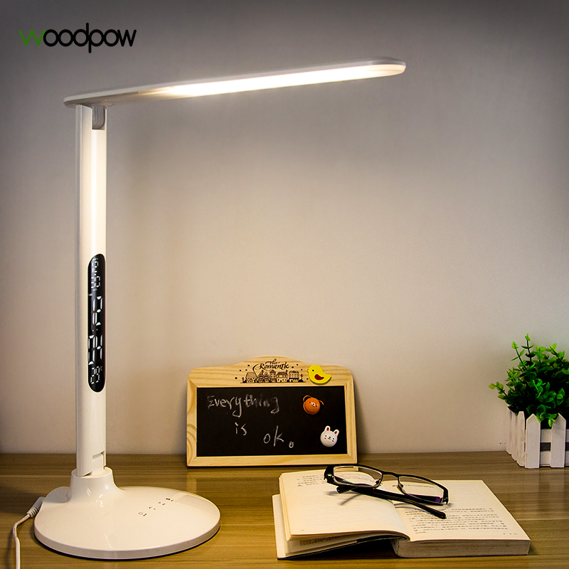 Woodpow Foldable Dimmable LED Desk Lamp with Alarm Clock LCD Display Table Lamp Battery Chargeable Eye Protection Reading Light folding usb 18 led white light eye protection lamp w calendar alarm clock black