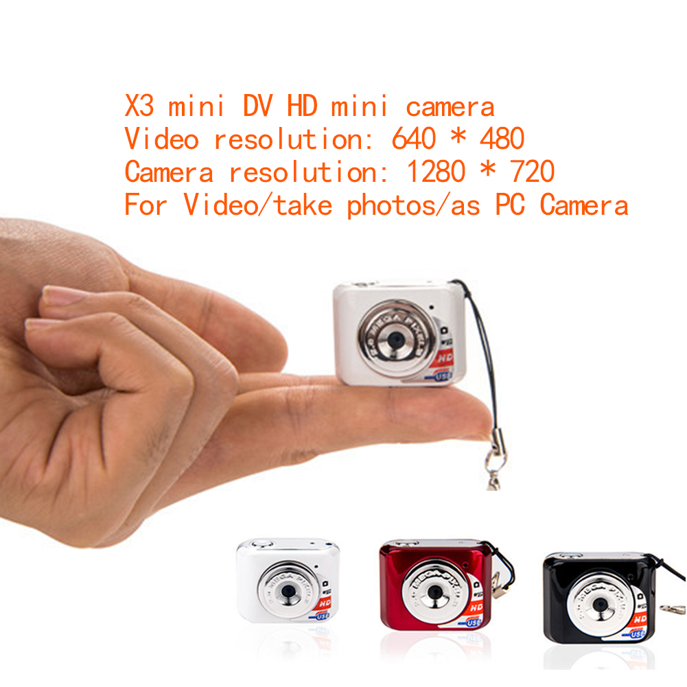 X3 Micro Portable HD Mega Pixel Pocket Video Audio Digital Camera Mini Camcorder 480P DV DVR Driving Recorder Web Cam 720P JPG