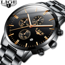 LIGE Mens Watches Top Brand Luxury Sport Chronograph Quartz Wristwatches Waterproof Business Clock Watch Men Relogio Masculino lige watch men sport quartz wristwatches leather mens watches top brand luxury waterproof business watch man relogio masculino