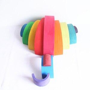 Image 5 - Детские игрушки, 12 шт. радужных блоков, деревянные игрушки для детей, большие 84*35*18 см, креативные радужные строительные блоки, развивающая игрушка Монтессори